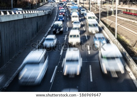 nearly congestion on highway in berlin - stock photo