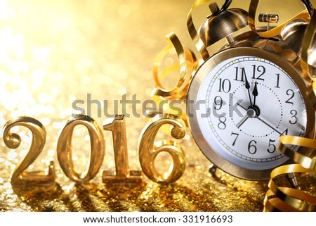 Nearly Twelve O'clock Midnight,New Year 2016 Concept. - stock photo