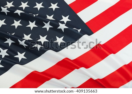 Neat flag blowing in the wind. Part of national flags series - USA - stock photo
