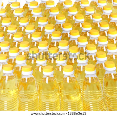 Neat row of cooking oil bottles. - stock photo