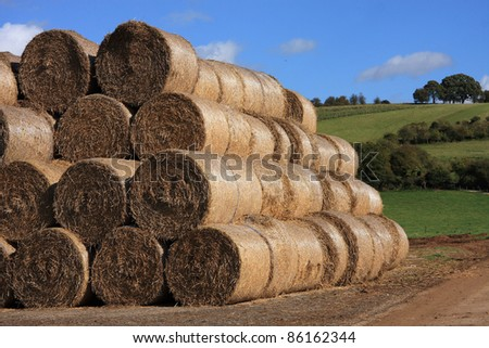 Neat stack of bales of straw in a farmyard - stock photo