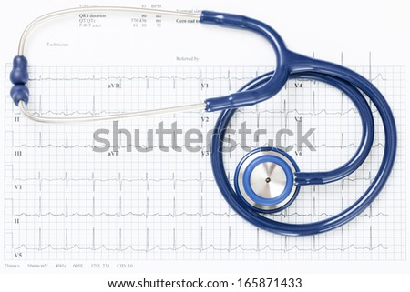 Neat studio shot of stethoscope over ecg graph - stock photo