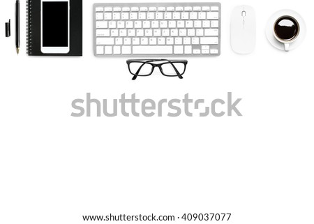 Neat white business desk with supplies. Top view with copy space. - stock photo