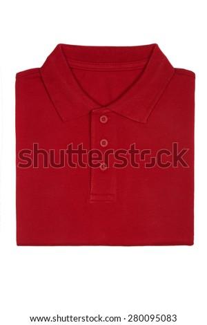 Neatly folded red polo shirt isolated on white background - stock photo