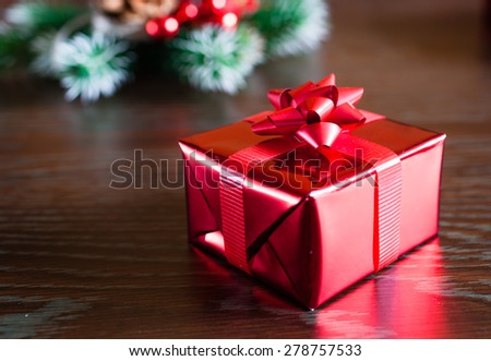 Neatly wrapped present. - stock photo