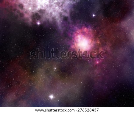 nebula and cosmic dust in starry sky - stock photo