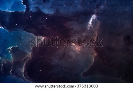 Nebula and stars in deep space, glowing mysterious universe. Elements of this image furnished by NASA - stock photo