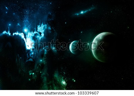 Nebula clouds in far outer space - stock photo