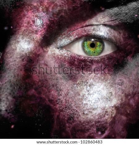 Nebula painted on a face - stock photo