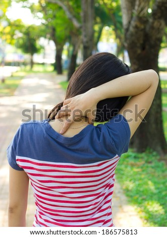 Neck pain (medical concept ) - stock photo