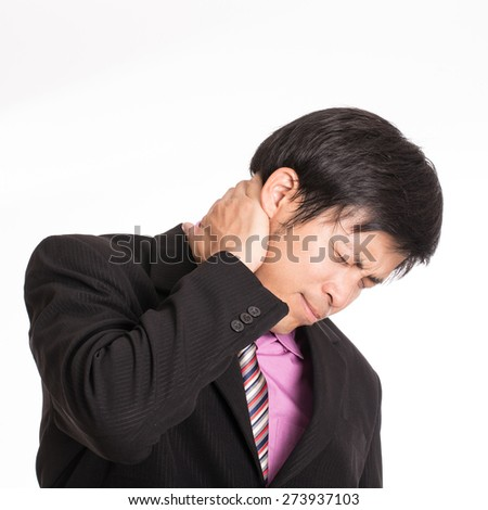 Neckache ,Businessman suffer neack with white background - stock photo