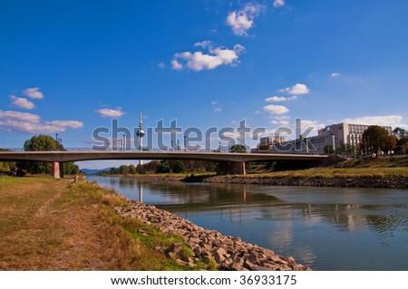 Neckar river in Mannheim - stock photo