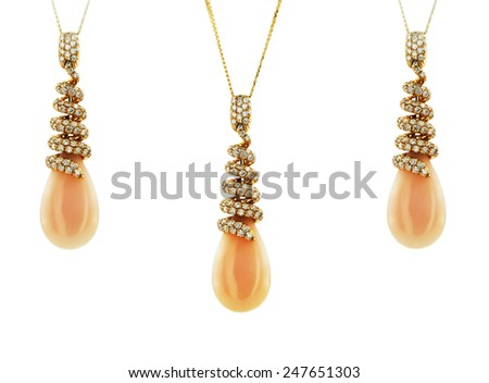 Necklace and pendants isolated on a white background - stock photo