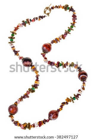 necklace from natural gemstone chippings (mookaite, jasper, agate,turquoise, brass) isolated on white background - stock photo