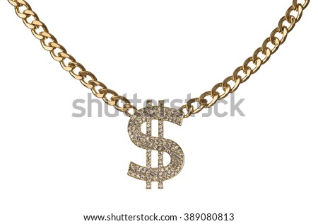 Necklace of dollar symbol with golden chain isolated on white background - stock photo