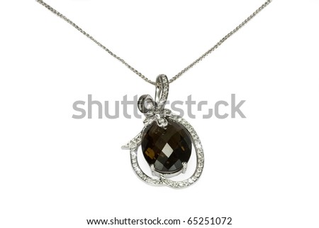 Necklace with a garnet - stock photo