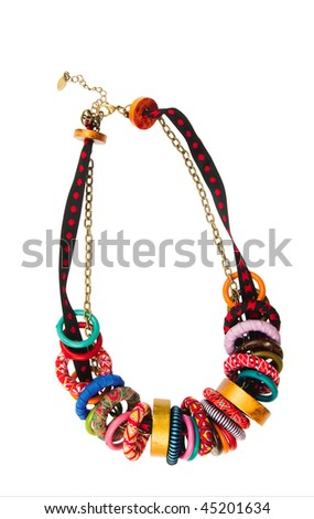 Necklace with coloured Beads on a white background - stock photo