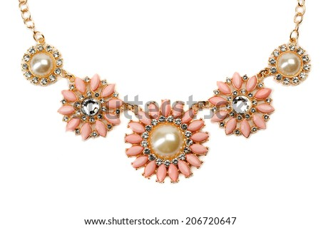 Necklace with pink stones on a gold chain. Clos-up. Isolate on white. - stock photo