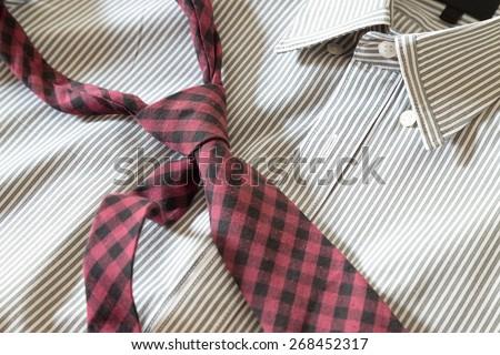 necktie on shirt - stock photo
