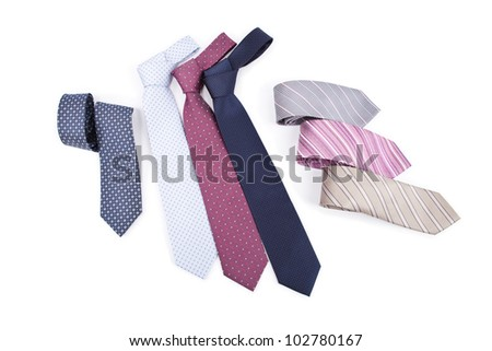 neckties isolated on white background - stock photo