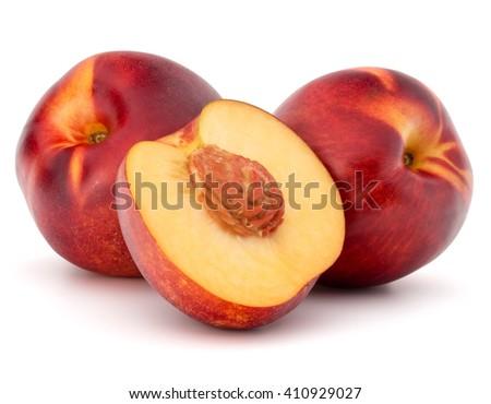 Nectarine fruit isolated on white background close up - stock photo