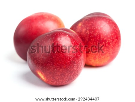 Nectarines isolated on white background - stock photo
