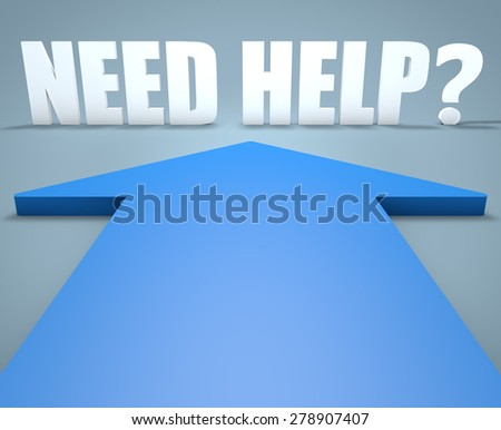Need Help - 3d render concept of blue arrow pointing to text. - stock photo