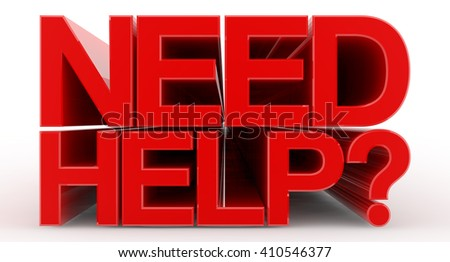 NEED HELP ? word on white background illustration 3D rendering - stock photo