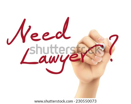 need lawyer words written by hand on a transparent board - stock photo