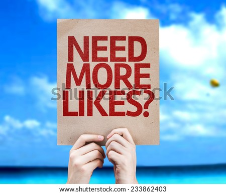Need More Likes? card with a beach on background - stock photo