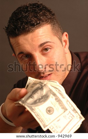 need some money? focus intentional on face money soft  model released - stock photo