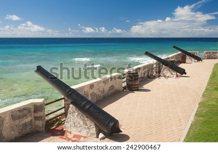 Needham's Point is a medieval fortification with cannons on the tropical Caribbean island of Barbados - stock photo