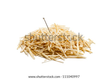 Needle in a haystack , Isolated on white - stock photo