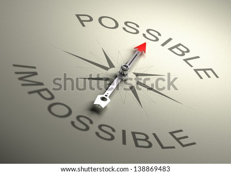 Needle of a compass pointing on the word possible, Realistic 3D render with depth of field, blur effect on the word impossible. - stock photo