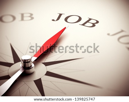 Needle of a compass pointing to the word job, 3D Render suitable for career counseling concept or job orientation. Depth of field effect - stock photo