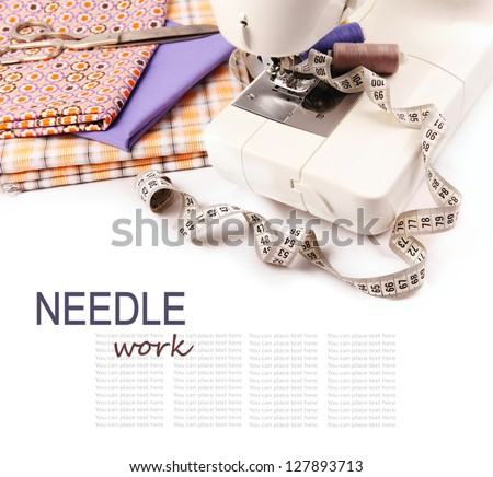 Needle work hobby background with sewing machine and tools - stock photo