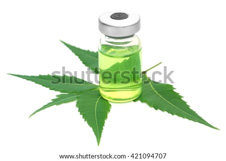Neem leaves with vial extracted medicine over white background - stock photo