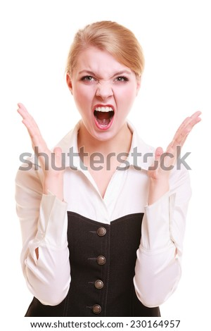 Negative emotions. Angry mad businesswoman crazy boss furious woman screaming isolated on white. Stress in business work. - stock photo