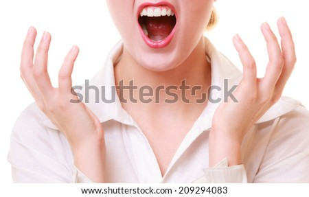 Negative emotions. Open mouth of angry mad businesswoman crazy boss furious woman screaming isolated on white. Stress in work. - stock photo