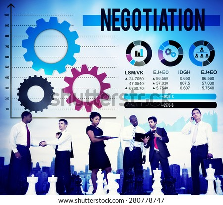 Negotiation Compromise Decision Contract Benefit Concept - stock photo