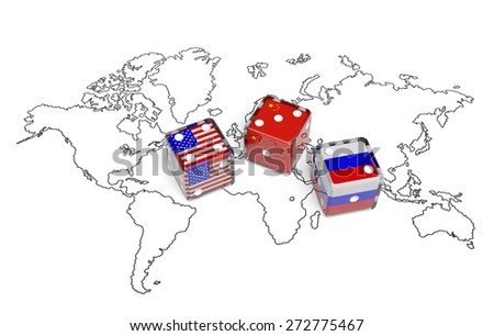 Negotiation political concept: dices with flags of USA, Russia and China on the world map symbolize foreign affairs, summit of countries, state interests, discussion on global issues - stock photo