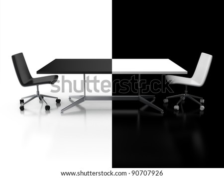 negotiations, confrontation 3d concept - black and white desk - stock photo