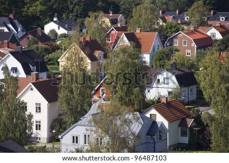 Neighbourhood from High Angle view - stock photo