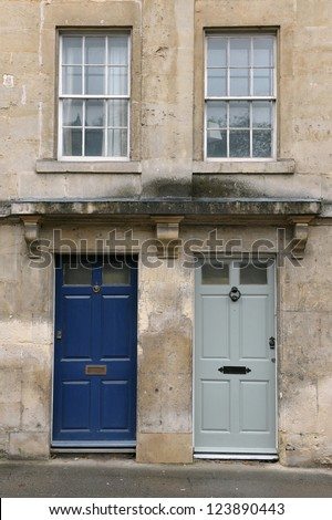 Neighbouring Georgian Era English Town Houses - stock photo
