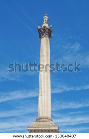 Nelson Column monument in Trafalgar Square London UK - stock photo