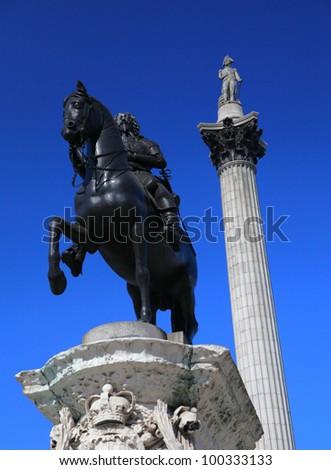 Nelson's Column in London's Trafalgar Square - stock photo