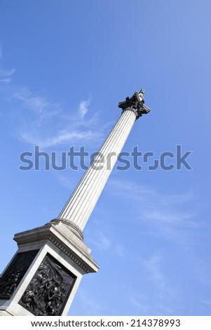 Nelson's Column in Trafalgar Square London - stock photo