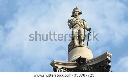 Nelson statue in Trafalgar Square, London, UK - stock photo