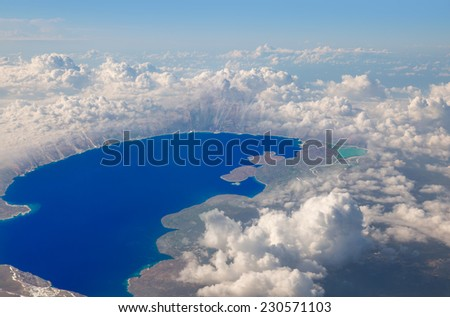 Nemrut Crater Lake, view from plane  - stock photo