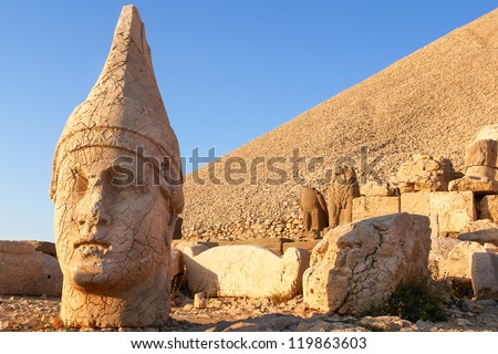 Nemrut mount, Turkey - Ancient stone heads representing the gods of the Kommagene kingdom - stock photo